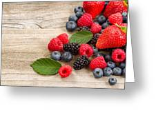 Freshly Picked Berries On Rustic Wooden Boards Greeting Card