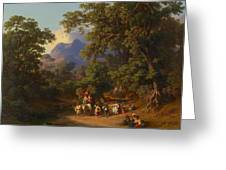 Frey  Johann Jakob 1813 Basel   1865 Frascati  Wedding Procession Of Italian Farmers Greeting Card