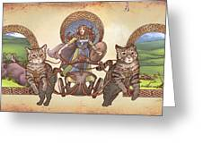 Freya Driving Her Cat Chariot - Triptic Garbed Version Greeting Card