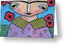 Frida In The Blooms Greeting Card