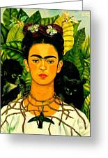 Frida Kahlo Self Portrait With Thorn Necklace And Hummingbird Greeting Card