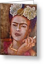 Frida Smoking Greeting Card by Jose Espinoza