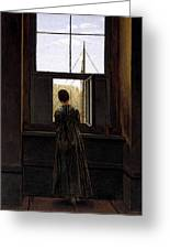 Friedrich Caspar David Woman At A Window Greeting Card