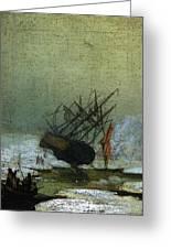 Friedrich Caspar David Wreck By The Sea Greeting Card