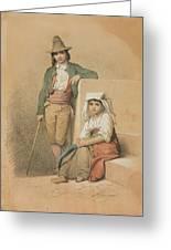 Friedrich Gonne  Two Italian Youths Greeting Card