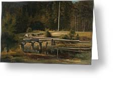 Friedrich Voltz 1817 Nordlingen   Munich 1886 Forest Clearing At A Pond Greeting Card