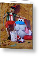 Friends 2  -  Pinocchio And Stimpy   Greeting Card