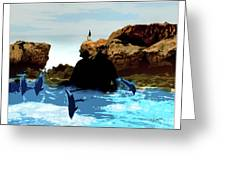 Friends With Dolphins In Colour Greeting Card