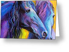 Friesian Horses Painting Greeting Card