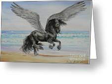 Friesian Pegasus Greeting Card