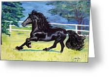 Friesian, Run Like The Wind Greeting Card