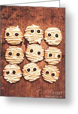 Frightened Mummy Baked Biscuits Greeting Card