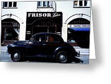 Frisor And Black Car  Copenhagen Denmark Greeting Card