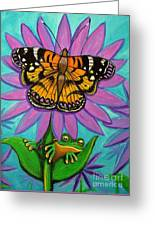 Frog And Butterfly Greeting Card