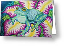 Frog And Flower Greeting Card