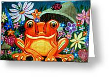 Frog And Flowers Greeting Card