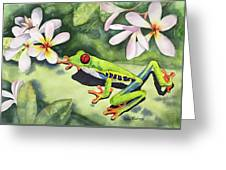 Frog And Plumerias Greeting Card