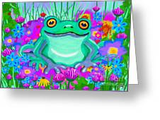 Frog And Spring Flowers Greeting Card