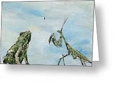 Frog Fly And Mantis Greeting Card