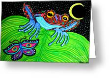 Frog Moon And Butterfly Greeting Card