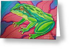 Frog On Flower Greeting Card