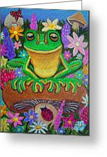 Frog On Mushroom Greeting Card