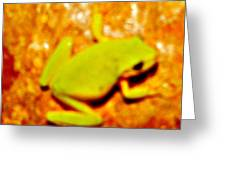 Frog On The Wall Greeting Card