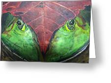 Frog With Leaf Greeting Card