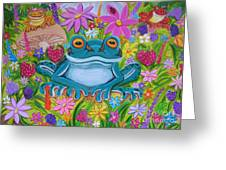 Frogs And Flowers Greeting Card