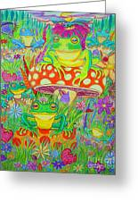 Frogs And Mushrooms Greeting Card