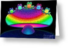 Frogs And Rainbow Mushroom Greeting Card