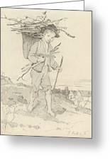 From Rudolf Hirth Frenes 1846 Grafentonna   Miltenberg 1916 Young Reisigsammlerinnen Greeting Card