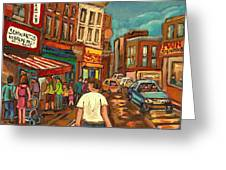 From Schwartz's To Warshaws To The  Main Steakhouse Montreal's Famous Landmarks By Carole Spandau  Greeting Card by Carole Spandau