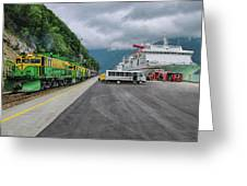 From Ship To Train Greeting Card