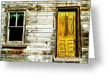 Front Door To An Old Abandoned House. Greeting Card