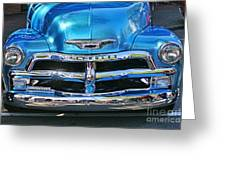 Front End Blue And Chrome Chevy Pick Up Greeting Card