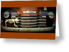 Front End Grille Of 1953 Chevrolet Advantage Design Truck With Dog Skeleton Greeting Card