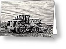 Front End Loader Black And White Greeting Card