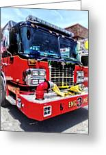 Front Of Fire Truck With Hose Greeting Card