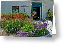 Flowers In Front Of Napier Common Room At Pilgrim Place In Claremont-california Greeting Card