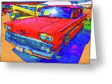 Front View Of Red Retro Car  Greeting Card