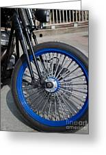 Front Wheel With Blue Rims And Fat Chrome Spokes Of Vintage Styl Greeting Card