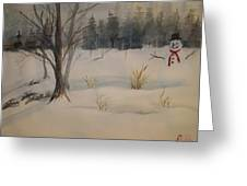 Frosting The Snowman Greeting Card