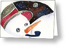 Frosty And The Moon Greeting Card by Mindy Newman