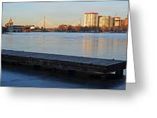 Frozen Dock On The Charles River Greeting Card