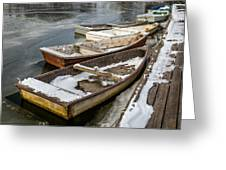 Frozen Boats Greeting Card