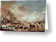 Frozen Canal Scene  Greeting Card