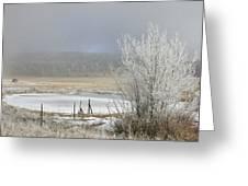 Frozen Fog Ranch Scene Greeting Card