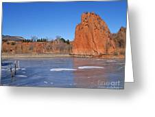 Frozen Lake Front Greeting Card
