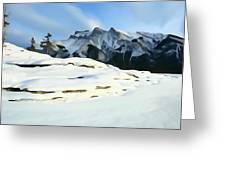 Frozen Mountain Lakeshore Greeting Card
